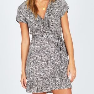 AMUSESOCIETY leopard wrap dress
